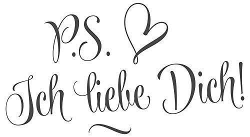dekodino® Wandtattoo Spruch Liebe P.S. Ich liebe dich Schlafzimmer Wanddeko