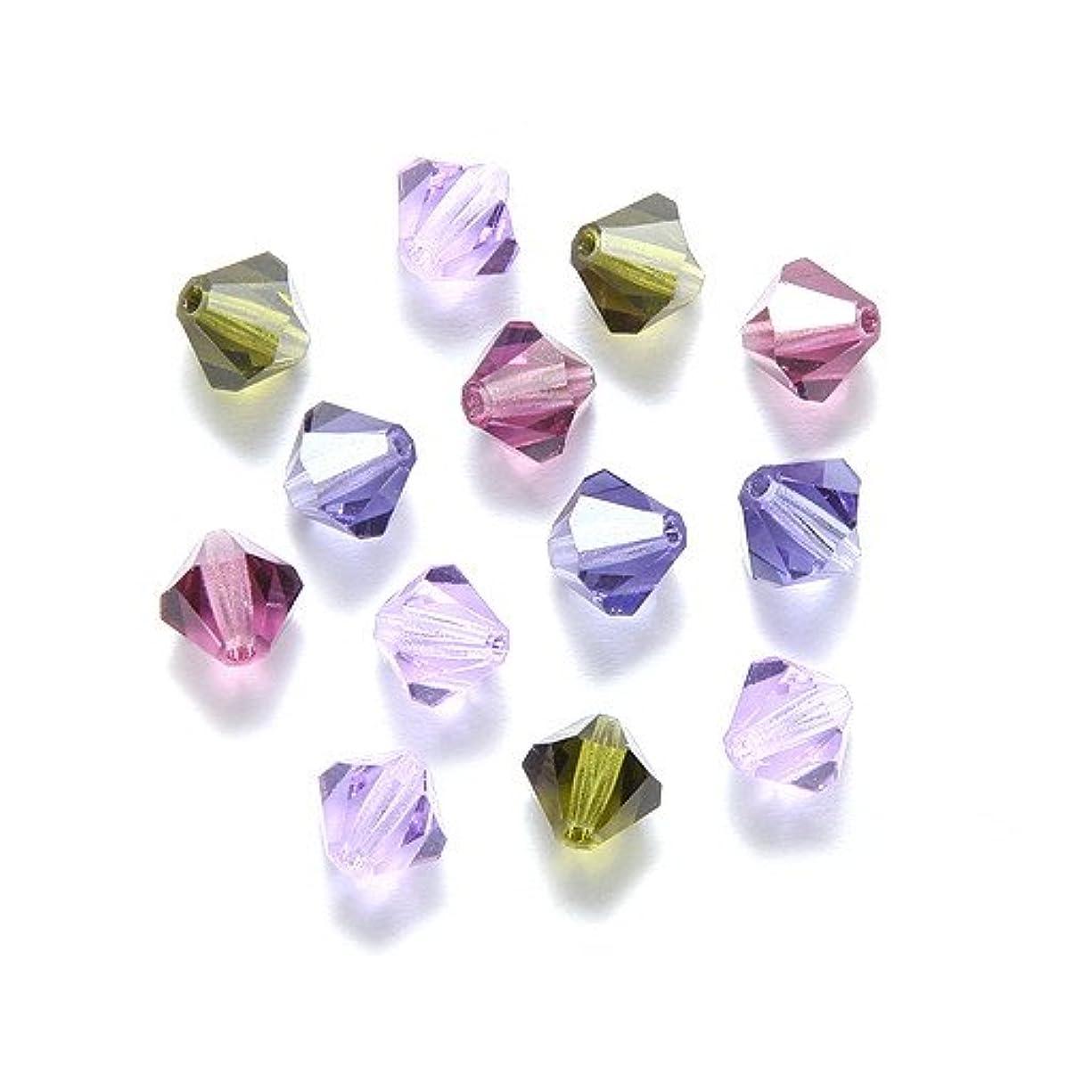 Preciosa 30-Piece Czech Crystal Bicone Beads Set, 6 by 6mm, Mix Lilac Grove