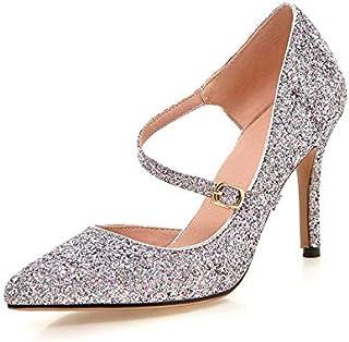 e2c72c4abe7b HOESCZS Grande Taille 33-43 Bling Haut Pointe Bout Mince Talons Hauts  Femmes Chaussures Or