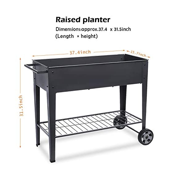"""FOYUEE Raised Planter Box with Legs Outdoor Elevated Garden Bed On Wheels for Vegetables Flower Herb Patio 3 SIZE: 40-1/2"""" L x 15-1/2"""" W x 31-1/2"""" H overall, planting box: 37-1/2"""" L x 15-1/2"""" W x 8"""" deep, holds about 2.5 cubic feet soil, provide ample growing space to raise vegetables, herbs, flowers and plants ERGONOMIC: Elevated raised planter box with legs eliminates the need to bend over, making gardening convenient. Raised garden bed on wheels, move to anywhere you want, with handy shelf holds accessories or tools METAL: Made of stable galvanized steel raised garden bed with anti-rusty grey coating, not made of wood which may rot. It can place outside or indoor for long time use"""