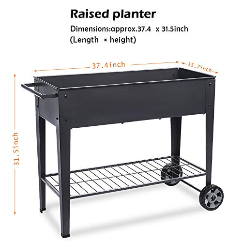 Raised Planter Box with Legs Outdoor Elevated Garden Bed On Wheels for Vegetables Flower Herb Patio