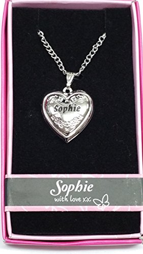 Sophie Named Personalised Love Lockets/Pendants with Picture Holder Presented Beautifully by Sterling Effectz