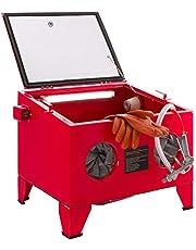 AREBOS Cabina de chorro de arena   Gabinete de arenado   Rojo   90L   Acero   125 PSI
