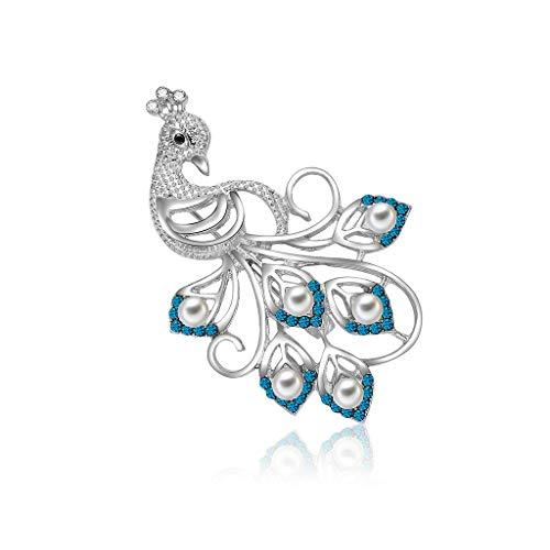 Bciou - Broche de pavo real con perlas de imitación azules para mujer, decoración de banquetes y fiestas, joyería decorativa