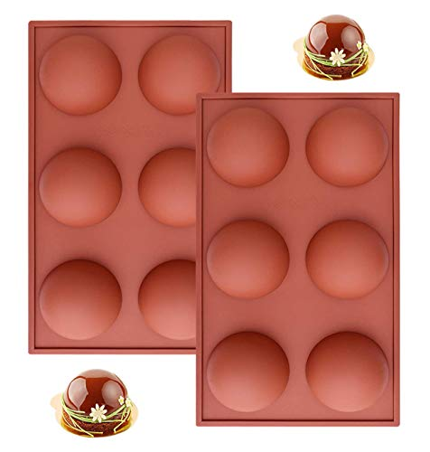 Large 6 Holes Semi Sphere Silicone Mold for Hot Cocoa Bombs