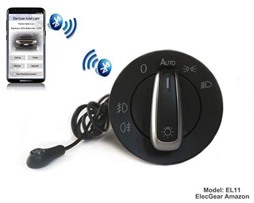 EL11 Auto Lichtsensor Bluetooth App Lichtschalter, KFZ Scheinwerferschalter Nebelscheinwerfer, Coming Leaving Home Modul fürSkoda Citigo, Superb B5, Rapid, Fabia 2, Octavia 1U Combi, Roomster 5J