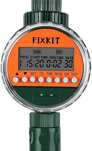 FIXKIT Temporizador de Riego, Programa Riego Jardin Digital, Temporizador de Riego Automatico, Reloj de Riego, con Pantalla LED, Cubierta Protectora Impermeable (hasta 30 Días)