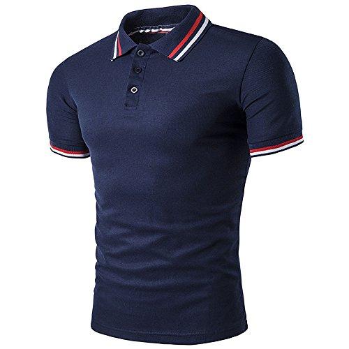 BicRad Herren Shirt Polo Kurzarmshirt Slim Polohemden Baumwolle, L, B41 Marine