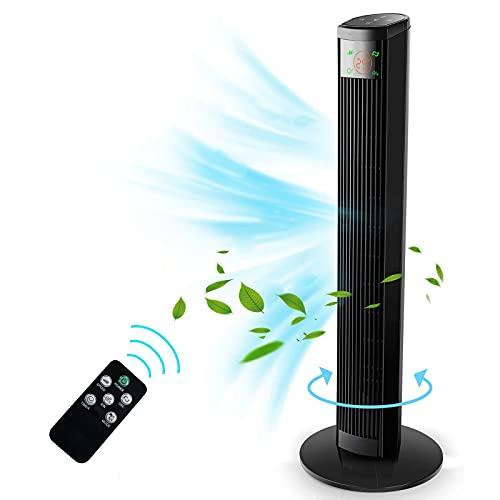 Ventilador de Torre con Control Remoto - 96 cm Ventilador Vertical con 4 Velocidades y 3 Modos, Pantalla LED & Panel Táctil, Temporizador 12H, Oscilante 60° silencioso, 45W Negro Ventilador de Pie