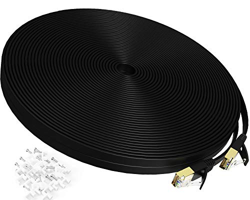 Cat 7 Ethernet Cable 100 ft,Durable High Speed Flat Internet Network Computer Cord,Faster Than Cat6 Cat5e Cat5 Network,High Speed Slim Cat7 LAN Wire with Rj45 Connectors for Router, Modem,Xbox,Black