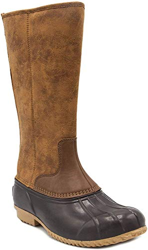 LONDON FOG Womens Whitley Cold Weather Tall Duck Boot Brown/Cognac