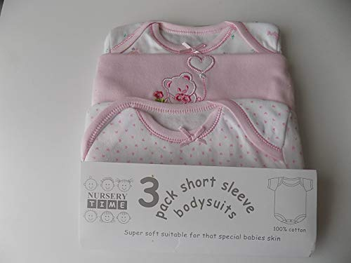 3 Pack Short Sleeves Env Neck Cotton Bodysuit Pink Motifs of Teddy Hearts 3 6 Months
