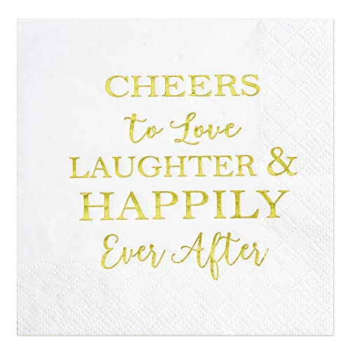 Crisky 100 Count Bridal Shower Napkins Disposable Cocktail Napkins 3-Ply Gold Foil Text Beverage Napkins for Engagement Party Decorations & Wedding Shower