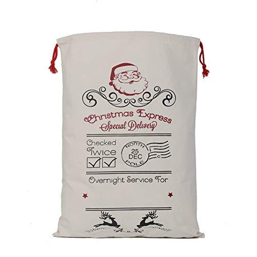 Tiramisu Preciosa Bolsa de Navidad de Gran Capacidad Bolsa de Almacenamiento de Lona Duradera Bolsa patrón de Alces y matasellos - Beige