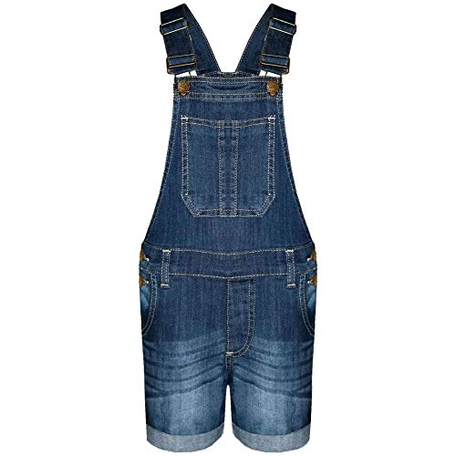 A2Z 4 Kids® Kinder Mädchen Denim Stretch Latzhose - Girls Shorts Dungaree Dark Blue 9-10