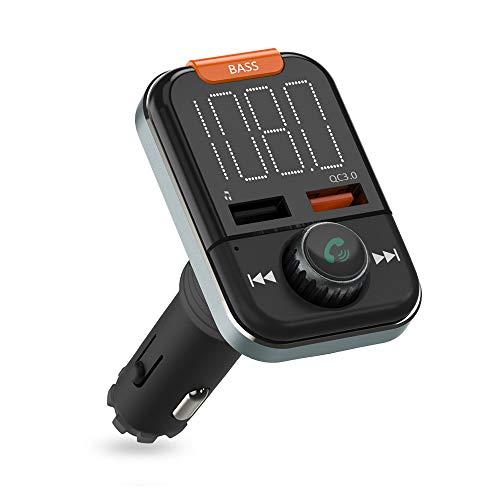 FM Transmitter Auto Bluetooth, ZeaLife Bluetooth Auto Radio Transmitter mit 3.5mm Aux Kabel Wireless Bluetooth FM Radio Adapter, Musik Player FM Transmitter mit Freisprecheinrichtung und Bass Boost