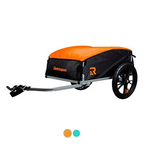 Retrospec Rover Hauler Cargo Bike Trailer, Tow Behind Extra Storage Bicycle Carrier, Foldable with 16 Inch Wheels; Orange (3605)