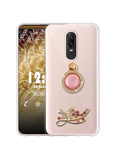 Sunrive Kompatibel mit Meizu 15 Hülle Silikon, Glitzer Diamant Strass Transparent Handyhülle Schutzhülle 3D Etui handycase Hülle (Schmetterling) MEHRWEG