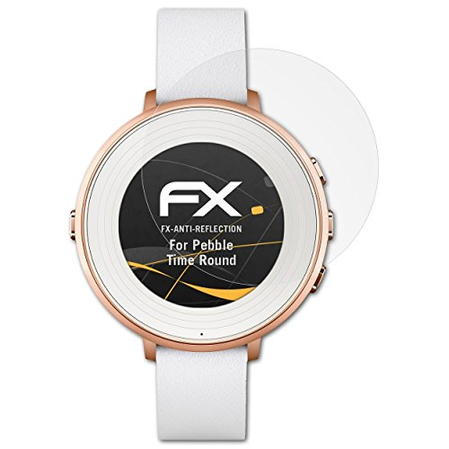 atFoliX Película Protectora Compatible con Pebble Time Round Lámina Protectora de Pantalla, antirreflejos y amortiguadores FX Protector Película (3X)