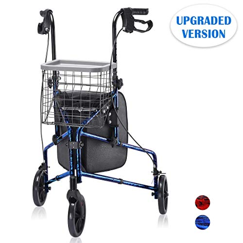 Upgraded Version ! Health Line Massage Products Lite Folding 3 Wheel Aluminum Rollator Walker Lightweight with Bag and Basket, Flame Blue