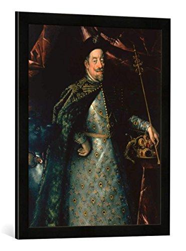 Gerahmtes Bild von Hans von Aachen Ausschnitt: Kaiser Matthias 1557-1619 als König von Böhmen, Kunstdruck im hochwertigen handgefertigten Bilder-Rahmen, 50x70 cm, Schwarz matt