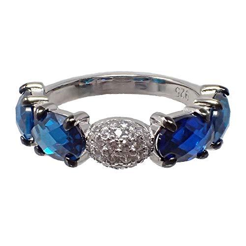 Sterling rodiada 925m Silber Ring Halbedelsteine ??blauer Topas blau Zirkone London