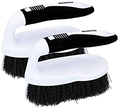 HomeLIF Scrub Brush Comfort Grip, Flexible, Heavy Duty, Hard Stiff Bristles, Cleaning Brush for Bathroom, Shower, Sink, Floor, Surfaces Tub, Tile and Grout All Purpose, 2 Pack