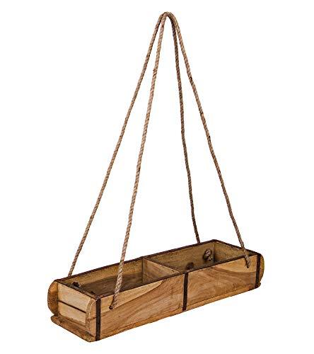 BigDean Alte Ziegelform Holzkiste zum Aufhängen Ordnungsbox Allzweckkiste mit Metallbeschlag 58 x 15 x 10 cm zweifach unterteilt Handgefertigt