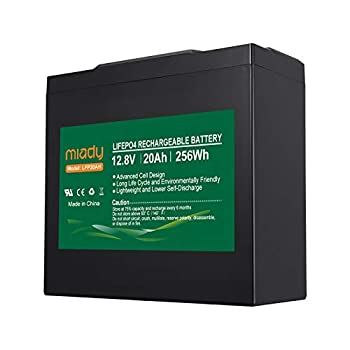 12V 20Ah Deep Cycle LiFePO4 Battery 2000 Cycles Miady LFP16AH Rechargeable Battery Maintenance-Free Battery for Golf Cart Boat Solar System UPS and More