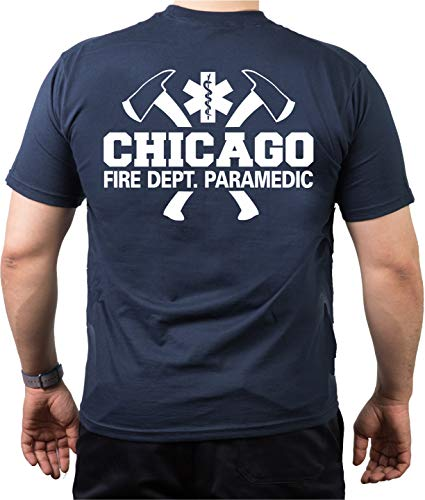 feuer1 T-Shirt Navy, Chicago Fire Dept. mit Äxten - Paramedic