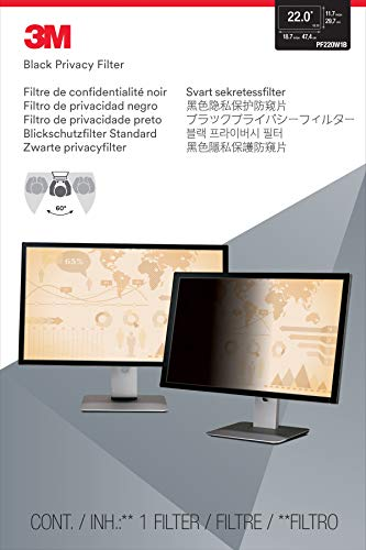 3M Privacy Filter for 22.0 Inch Widescreen Monitor, Reversible Gloss/Matte, Reduces Blue Light, Screen Protection, 16:9 Aspect Ratio (PF220W1B)