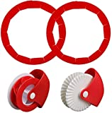 4PCS Pie Crust Set,Pie Crust Protector Shield+Pastry Wheel Decorator And Cutter Silicone Pie...