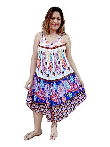 Vestido Feminino Alça Trapézio Boho Estampado Verão 1010