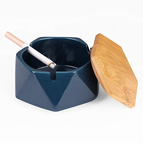Anicoll Keramik Aschenbecher mit Deckel, Winddicht, Zigarettenaschenbecher für Innen-/ Außenbereich, Aschenhalter für Raucher, Desktop-Aschenbecher für Hause Büro Dekoration- Dunkelblau