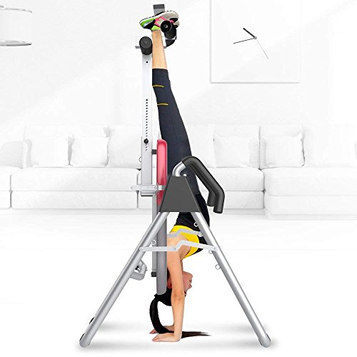 HYD-Parts Inversion Table Back Therapy Fitness Back Pain Relief, Adjustable Folding Therapy Back Inversion Table for Home Exercise (Red&Gray)
