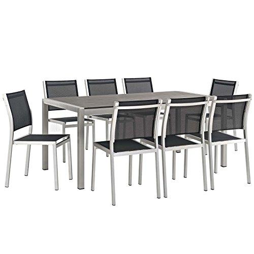 Modway EEI-2583-SLV-BLK-SET Shore 9 Piece Patio Aluminum Dining Set Outdoor Furniture, Set of 9, Silver Black
