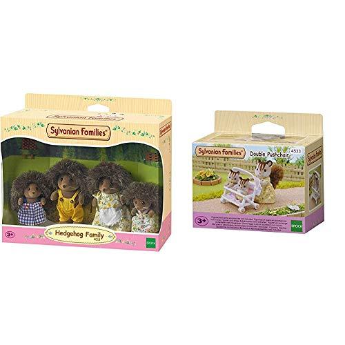 SYLVANIAN FAMILIES Hedgehog Family Mini muñecas y Accesorios,, 20.1 x 15.0 x 5.6 (Epoch para Imaginar 4018) + 4533 Carrito para Gemelos [Importado de Alemania]