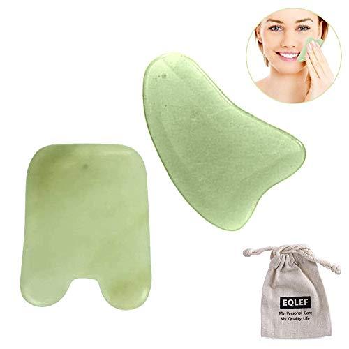 Jade Gua Sha Scraping Massage-Werkzeug Handarbeit Jade Guasha Brett, Werkzeuge für Graston SPA Akupunktur-Therapie Triggerpunkt-Behandlung auf Gesicht Arm Fuß (Dreieck und Quadrat)