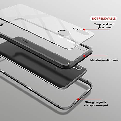 CE-Link Huawei Nova 3 Hülle Glas mit Magnetisch Panzerglas Durchsichtig Handyhülle Transparent Ultra Slim Dünn 360 Grad Schutzhülle Bumper Schutz - Schwarz - 5
