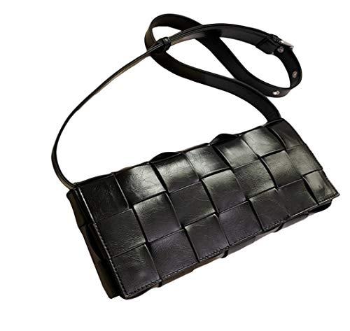 Santwo - Borsa a tracolla da donna, in pelle, regolabile, piccola tessitura, a tracolla, Nero