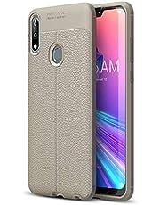 Capa para Asus Zenfone Max Pro M2 ZB631KL Capa traseira com padrão Litchi Capa traseira ultrafina TPU + 1 protetor de tela 9H protetor de vidro temperado película transparente HD cinza