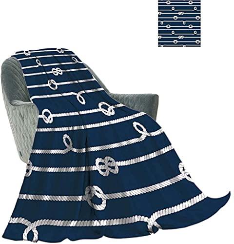 Manta de Franela térmica para decoración de Cuerdas Cuerdas Blancas y Azules con Ilustraciones de Nudos Marinos Manta Suave para Todas Las Estaciones para sofá Cama sofá 50 x 40
