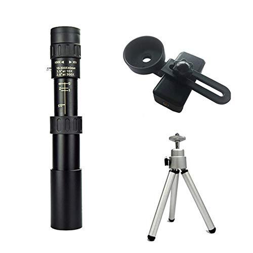 金属単眼望遠鏡 10-300x40ズーム 望遠鏡 接眼レンズ ポケット単眼鏡双眼鏡 狩猟 光学プリズムスコープ 超観測距離