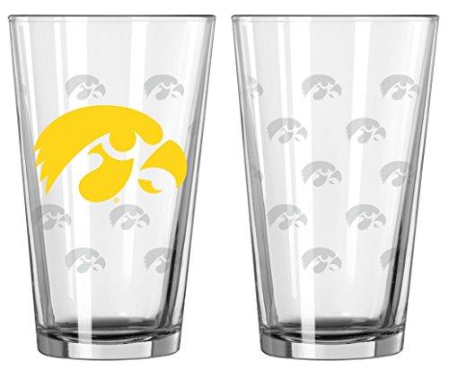 Iowa Hawkeyes Satin Etch Pint Glass Set