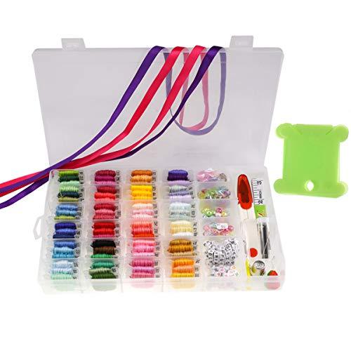 Beada Kit de 72 hilos multicolores para bordado y punto de cruz y cintas con caja de almacenamiento organizadora, para hacer pulseras y cuentas
