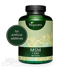 MSM + Zinc VEGAVERO® | 300 Capsules, 1000 mg per Tablet | 99.9% Pure MSM Capsules | *Hair, Skin & Nails | 100% Vegan | Lab Tested