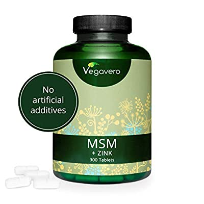MSM + Zinc VEGAVERO® | 300 Capsules, 1000 mg per Tablet | 99.9% Pure MSM Capsules | *Hair, Skin & Nails | 100% Vegan | Lab Tested