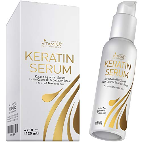 Vitamins Hair Serum Keratin Treatment - Protein Hydrating Moisturiser for Frizzy Dry Damaged Hair - Anti Frizz Heat Protection Product for Curly Wavy or Straight Hair