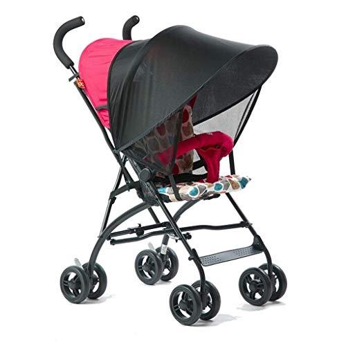 MNBV Cochecito Ultraligero, Compacto, diseño Plegable autónomo, Cesta de la Compra en Modo para un Solo niño, Bolsillo de Almacenamiento en el Respaldo, (Color: Red, Size: A)