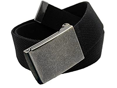 Boys School Uniform Distressed Silver Flip Top Military Belt Buckle with Canvas Web Belt Medium Black